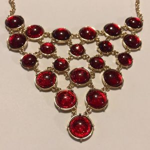 Sparkling Faux Red Gemstone Necklace